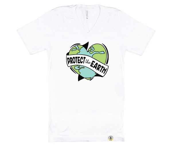 Protect the Earth Adult V-Neck (White)