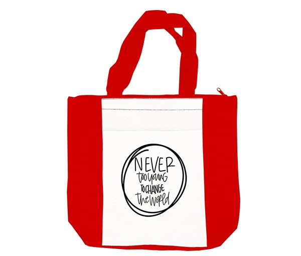 Never Too Young Tote Bag (Red/White)