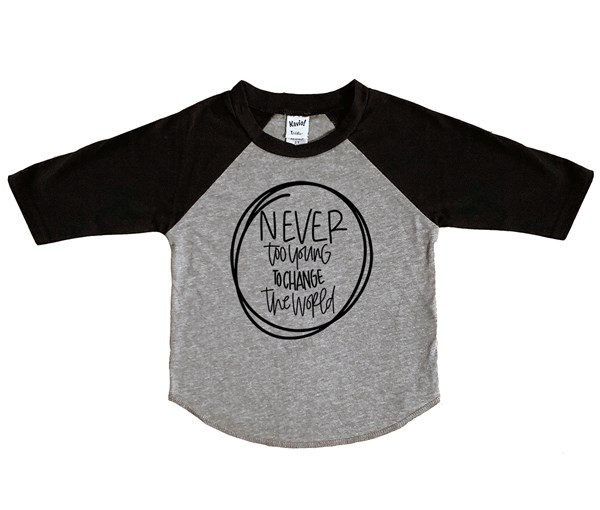 Never Too Young Raglan (Grey/Black)
