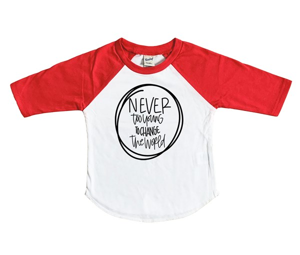 Never Too Young Raglan (White/Red)