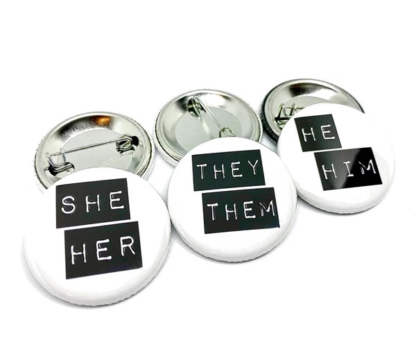 She/Her Pin-back Button (Black/White)