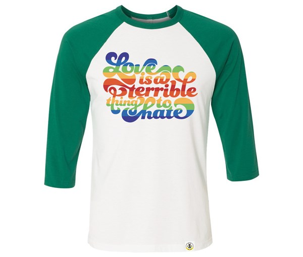 Love is a Terrible Thing to Hate Adult Raglan (Green/White)