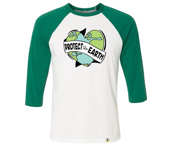 Protect the Earth Adult Raglan (Green/White)