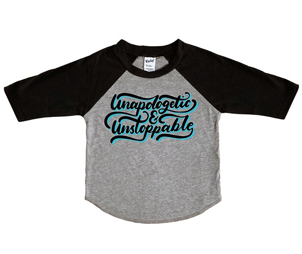 Unapologetic and Unstoppable Raglan (Grey/Black)