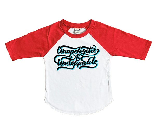 Unapologetic and Unstoppable Raglan (White/Red)