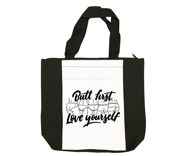 Butt First Tote Bag (Black/White)