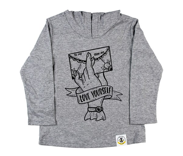 Love Yourself Hooded Tee (Grey)