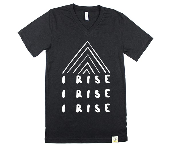I Rise V-Neck (Adult Unisex) Black Heather