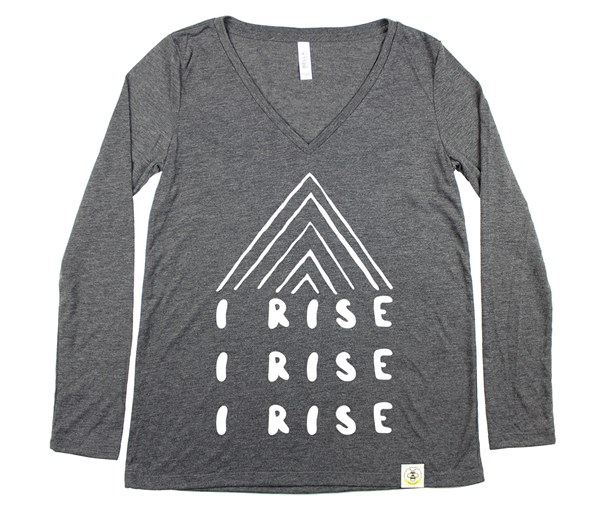 I Rise Women's Long Sleeve V-Neck (Dark Grey Heather)