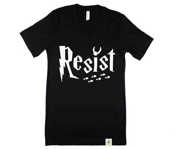 Resist Adult V-Neck (Heather Black)