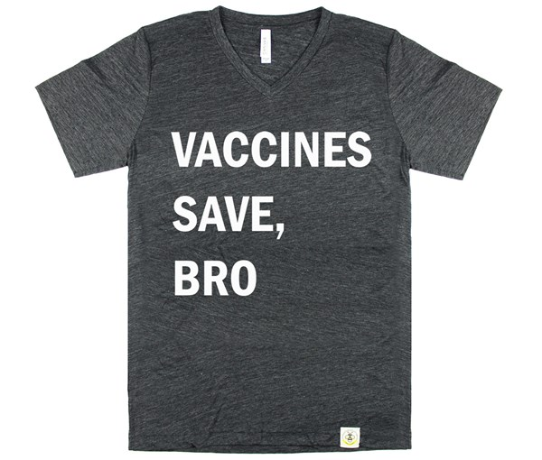 Vaccines Save, Bro V-Neck (Adult Unisex) Charcoal