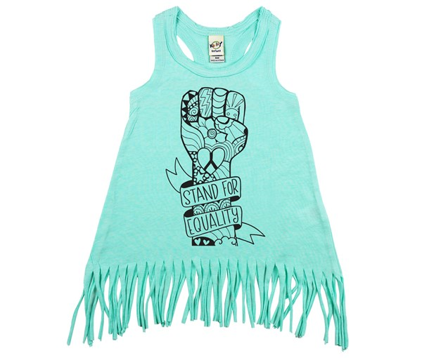 Equality Fist Fringe Dress (Mint)