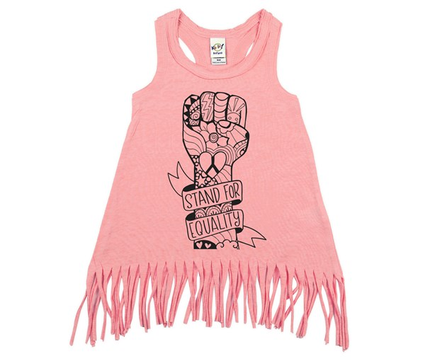 Equality Fist Fringe Dress (Flamingo)