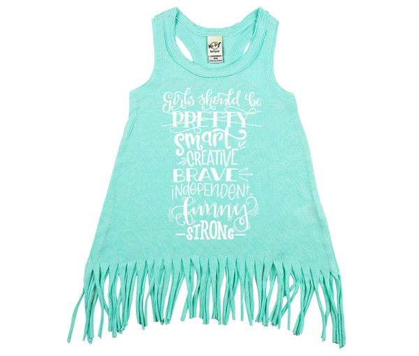Girls Should Fringe Dress (Mint)