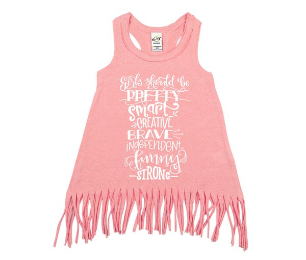 Girls Should Fringe Dress (Flamingo)