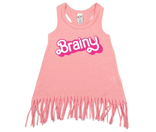 Brainy Fringe Dress (Flamingo)