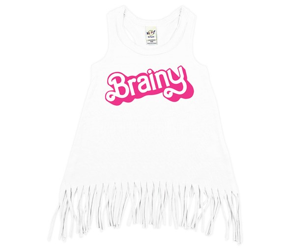 Brainy Fringe Dress (White)