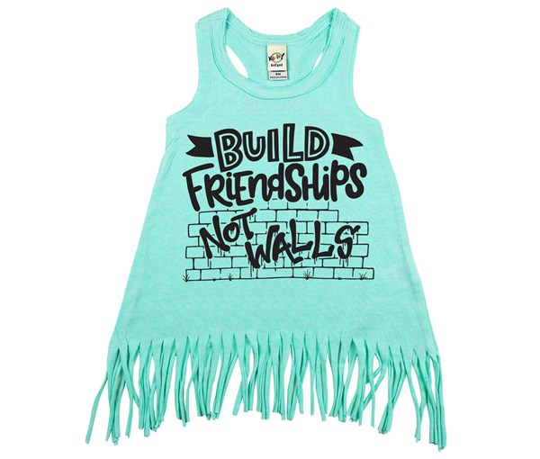 Build Friendships Fringe Dress (Mint)