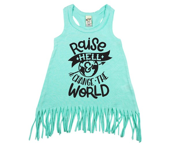 Raise Hell Fringe Dress (Mint, Black)
