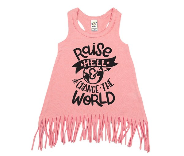 Raise Hell Fringe Dress (Flamingo, Black)