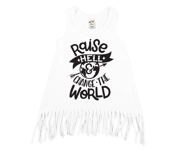 Raise Hell Fringe Dress (White, Black)