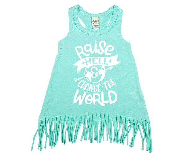Raise Hell Fringe Dress (Mint, White)