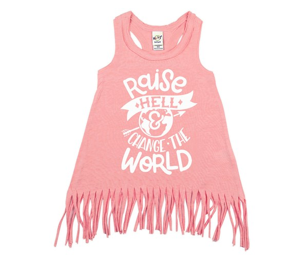 Raise Hell Fringe Dress (Flamingo, White)