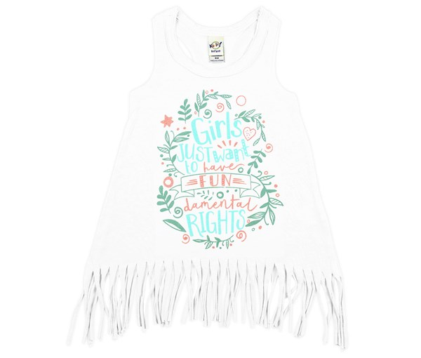 Girls Just Want Fringe Dress (White)