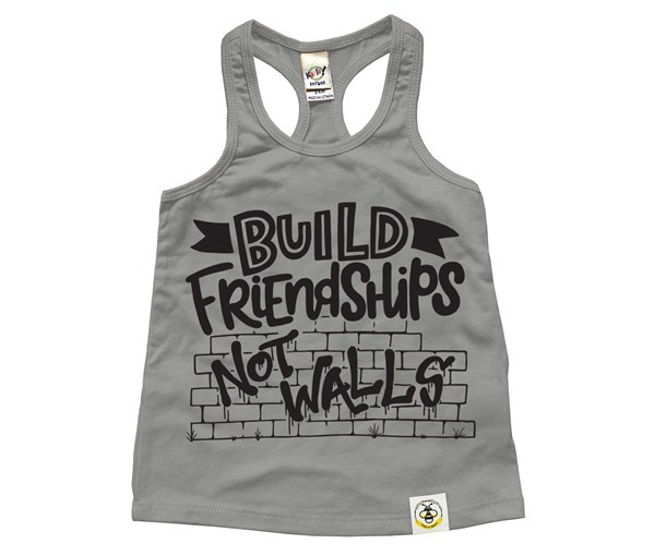 Build Friendships Racerback Tank (Grey)