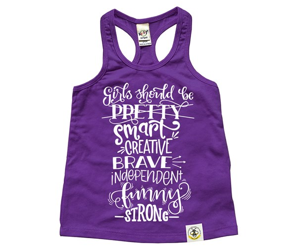 Girls Should Racerback Tank (Purple)