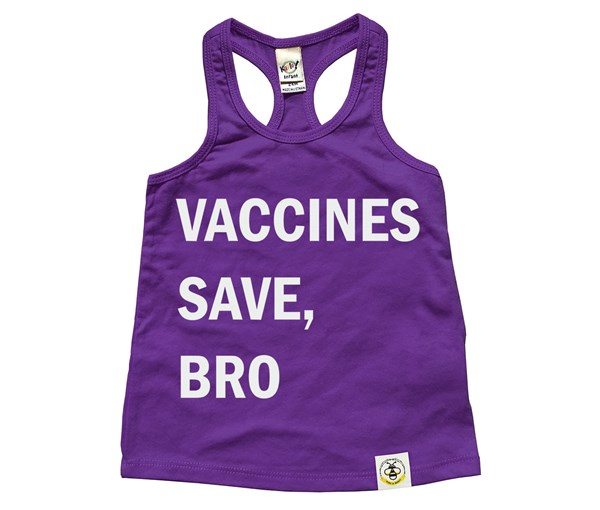 Vaccines Save, Bro Racerback Tank (Purple)