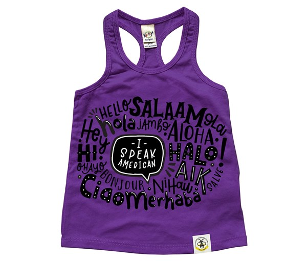 I Speak American Racerback Tank (Purple)