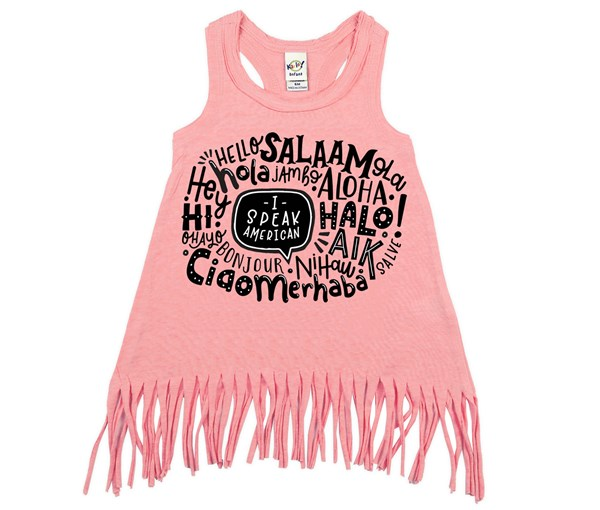 I Speak American Fringe Dress (Flamingo)