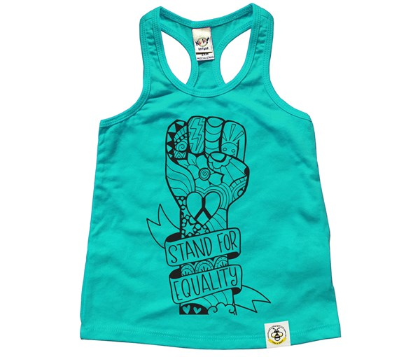 Equality Fist Racerback Tank (Caribbean Blue)