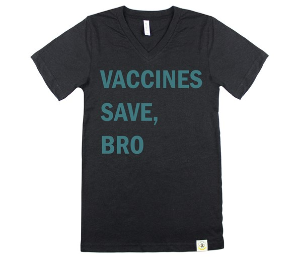 Vaccines Save, Bro V-Neck (Adult Unisex) Black/Teal