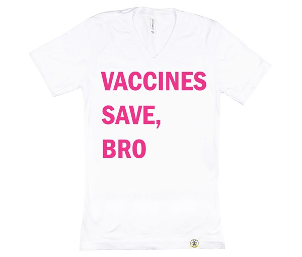 Vaccines Save, Bro Adult (White/Pink)