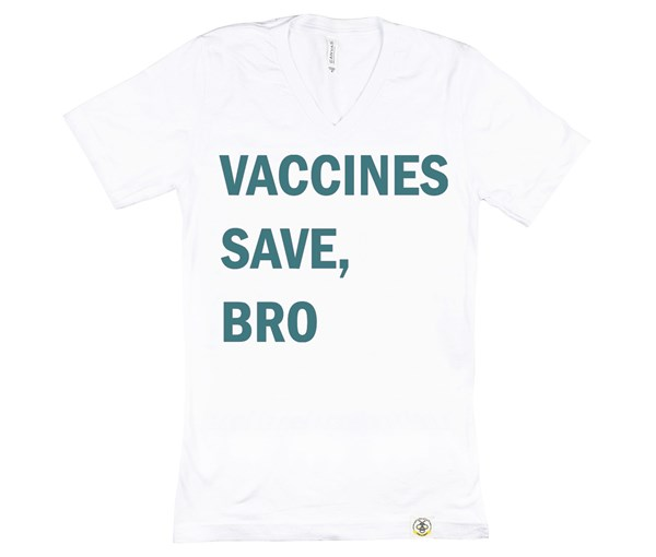 Vaccines Save, Bro Adult (White/Teal)