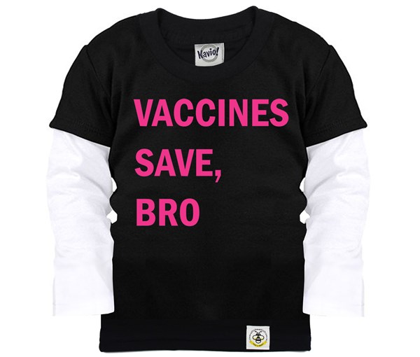 Vaccines Save, Bro Layered Tee (Black/Pink)