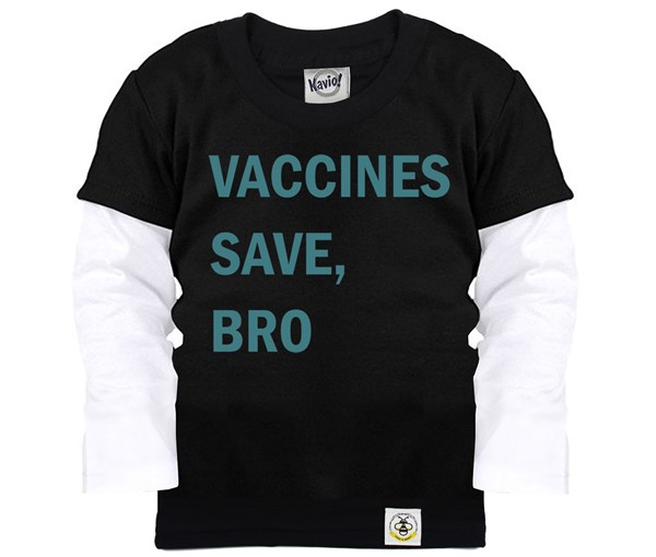 Vaccines Save, Bro Layered Tee (Black/Teal)