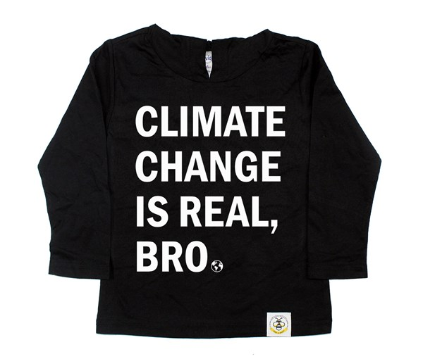 Climate Change Hooded Tee (Black/White)