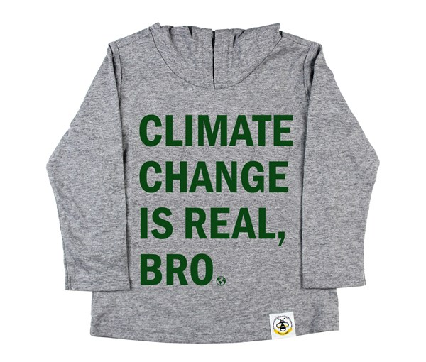 Climate Change Hooded Tee (Grey/Green)