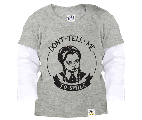 Don't Tell Me To Smile Layered Tee (Grey)