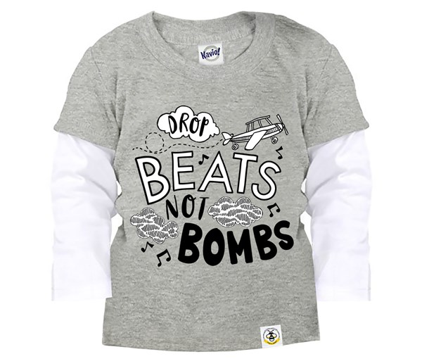 Drop Beats, Not Bombs Layered Tee (Grey)