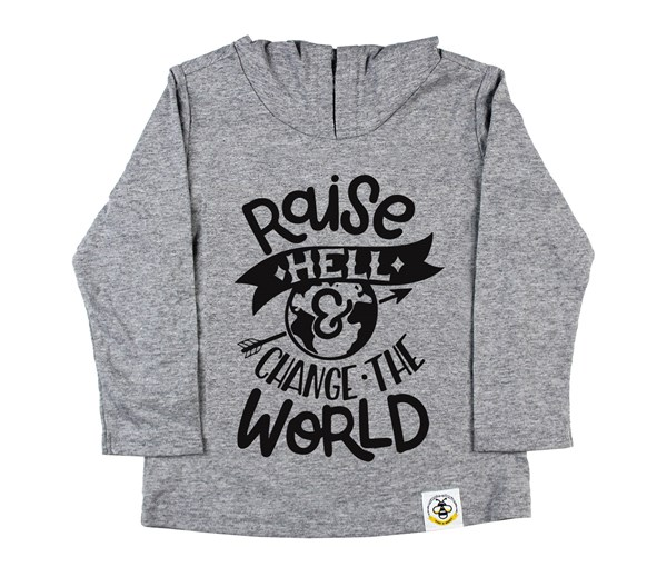 Raise Hell Hooded Tee (Grey)
