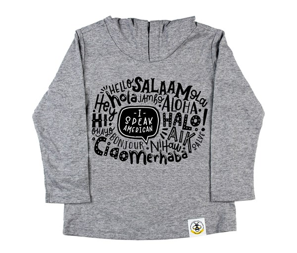 I Speak American Hooded Tee (Grey)