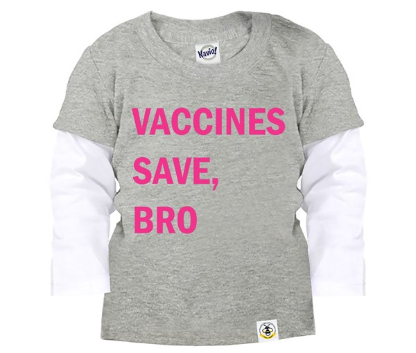 Vaccines Save, Bro Layered Tee (Grey, Pink)