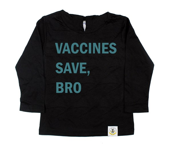Vaccines Save, Bro Hooded Tee (Black/Teal)