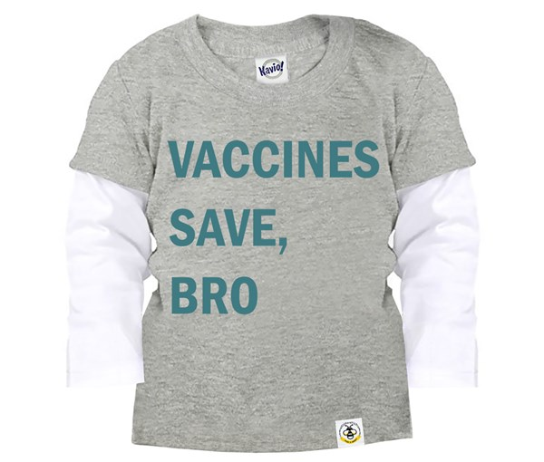Vaccines Save, Bro Layered Tee (Grey, Teal)