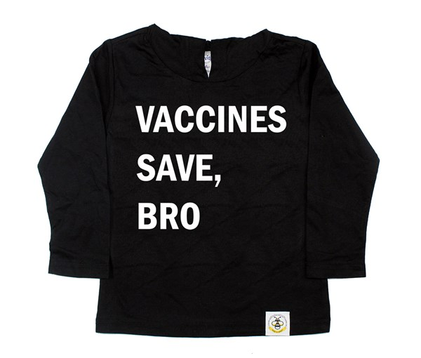 Vaccines Save, Bro Hooded Tee (Black/White)