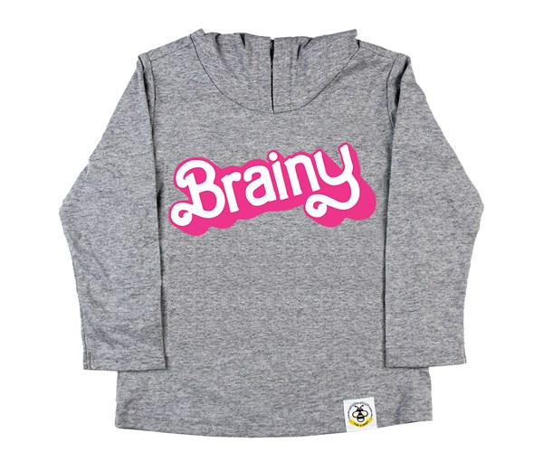 Brainy Hooded Tee (Grey)